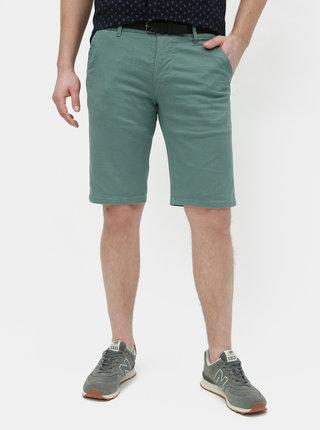 Pantaloni scurti verzi slim fit cu model si curea Lindbergh