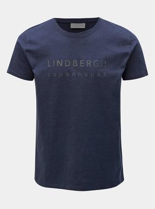 Tmavomodré tričko s potlačou Lindbergh