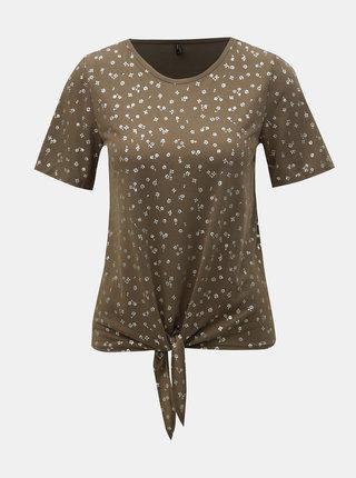 Kaki kvetované tričko s uzlom ONLY Isabella