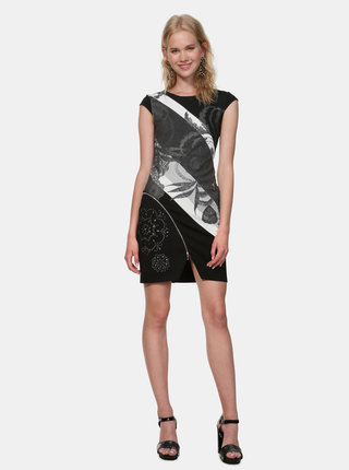 Šedo-černé vzorované pouzdrové šaty Desigual Mojaves