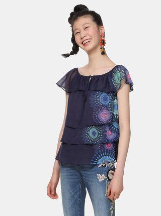 Tmavě modrá vzorovaná halenka s odhalenými rameny Desigual Clarie