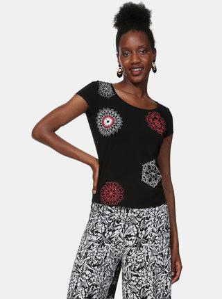 Tricou negru cu imprimeu Desigual Sonja