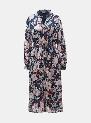 Tmavě modré květované midi šaty Jacqueline de Yong Yeremaiah