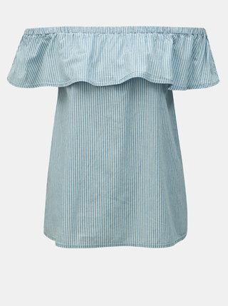 Modrý pruhovaný top s volánom VERO MODA Emilia