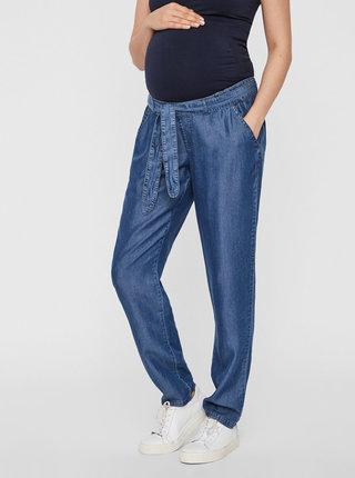 Modré tehotenské voľné rifľové nohavice Mama.licious Lydia