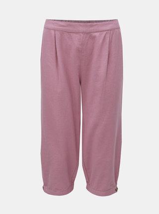 Pantaloni 3/4 roz prafuit din in cu talie inalta VERO MODA Anna