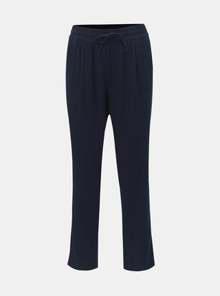 Tmavě modré lněné kalhoty s vysokým pasem VERO MODA Anna