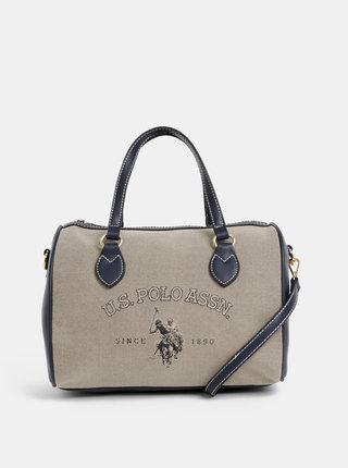 Béžovo-modrá kabelka U.S. Polo Assn.