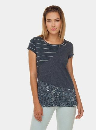 Tmavomodré dámske vzorované tričko Ragwear Taby Block