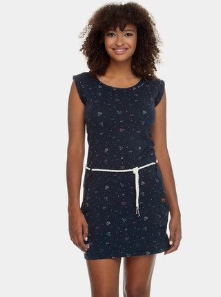 Tmavomodré vzorované šaty s opaskom Ragwear Tag