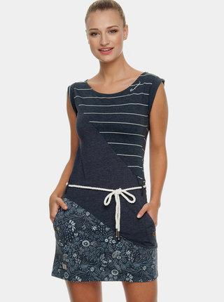 Tmavě modré vzorované šaty s páskem Ragwear Tag Stripes Oragnic