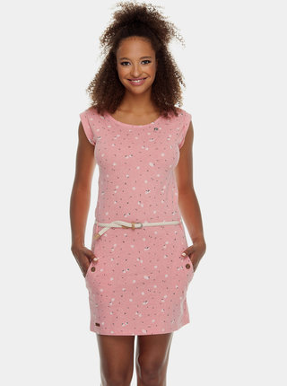 Ružové vzorované šaty s opaskom Ragwear Tag Berries