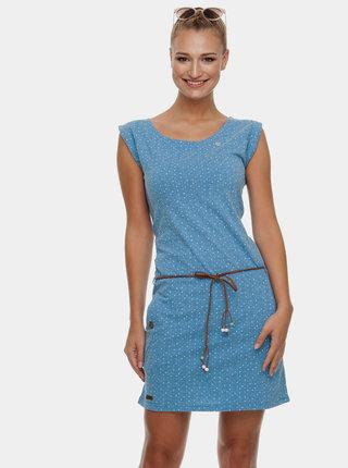 Modré bodkované šaty s opaskom Ragwear Tag Dots