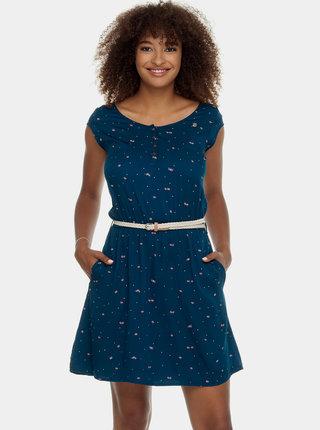 Tmavomodré vzorované šaty s opaskom Ragwear Zephie