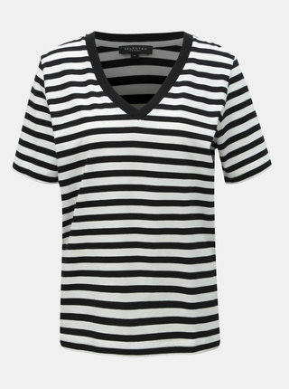 Tricou basic alb-negru in dungi Selected Femme Standard