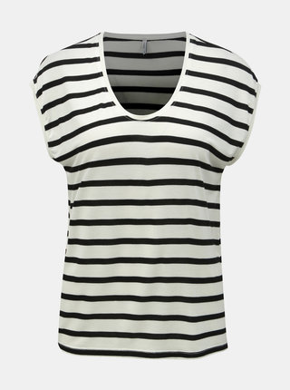Tricou basic negru-crem in dungi ONLY Wilma