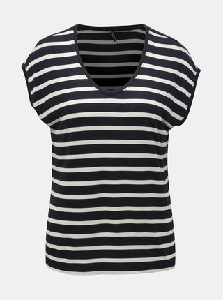 Tricou basic albastru inchis in dungi ONLY Wilma
