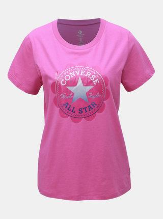 Tricou roz de dama cu imprimeu Converse