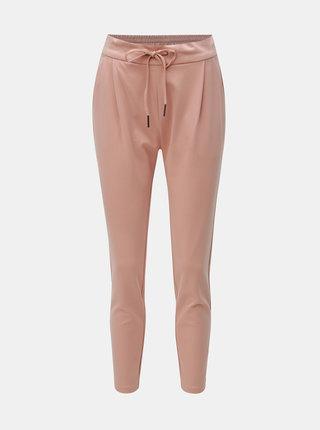 Pantaloni roz prafuit pana la glezne cu talie inalta VERO MODA Eva