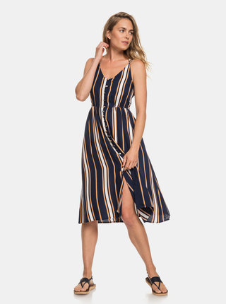 Tmavomodré pruhované šaty na ramienka Roxy Sunset Beauty