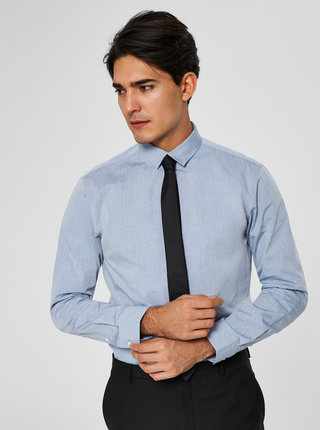 Camasa albastru deschis slim fit cu model Selected Homme Kris
