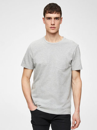 Sivé basic tričko s náprsným vreckom Selected Homme Wave