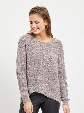 Světle růžový žíhaný svetr s prodlouženou zadní částí VILA Kaleida