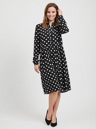 Bielo–čierne bodkované košeľové šaty VILA Dotla