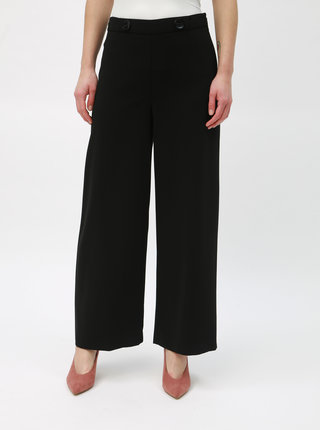 Čierne široké nohavice s vysokým pásom Dorothy Perkins