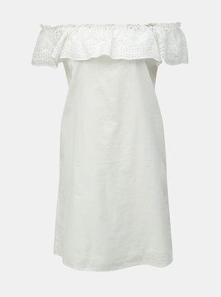 Biele šaty s madeirou a odhalenými ramenami Dorothy Perkins