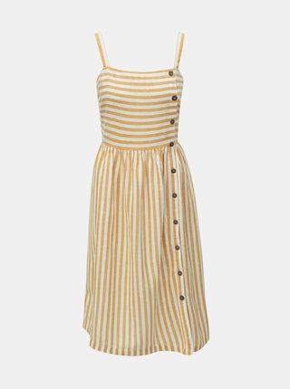 Bielo–hnedé pruhované šaty s prímesou ľanu Dorothy Perkins