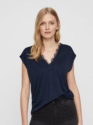Tmavě modré tričko s krajkovými detaily VERO MODA Carrie