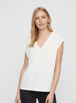 Bílé tričko s krajkovými detaily VERO MODA Carrie