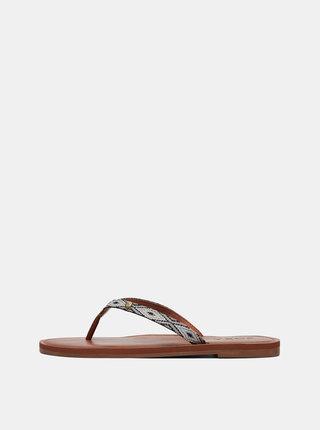 Papuci flip-flop gri cu model Roxy Janel
