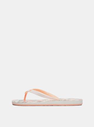 Papuci flip-flop oranj-crem florali Roxy Tahiti