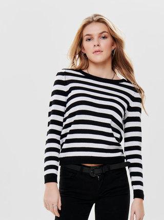 Bílo-černý pruhovaný svetr s knoflíky ONLY Dorthea