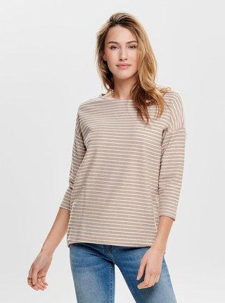 Bílo-růžové pruhované volné tričko s 3/4 rukávem ONLY Elly