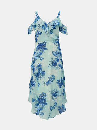 Rochie midi albastru deschis florala cu volane Dorothy Perkins