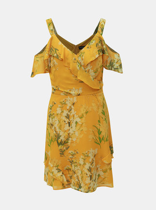 Horčicové kvetované šaty s volánmi Dorothy Perkins
