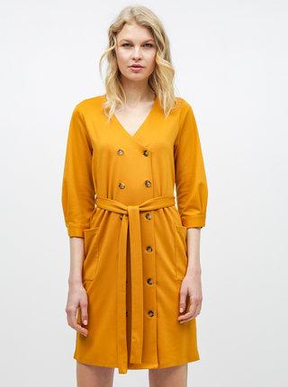Horčicové košeľové šaty s vreckami Dorothy Perkins
