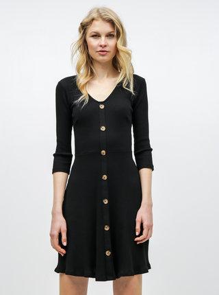 Čierne rebrované šaty s ozdobnými gombíkmi Dorothy Perkins