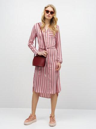 Ružové pruhované košeľové midišaty VERO MODA Katlyn