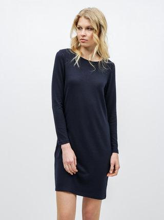 Tmavě modré svetrové šaty s pásky na zádech Jacqueline de Yong Emily