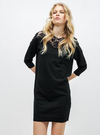 Čierne svetrové šaty s čipkou ONLY Ally