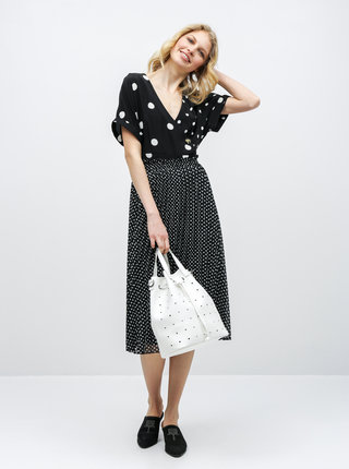 Bílo-černé puntíkované šaty Miss Selfridge