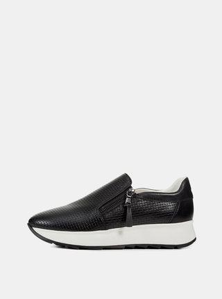 Pantofi slip on negri de dama cu detalii din piele Geox Gendry