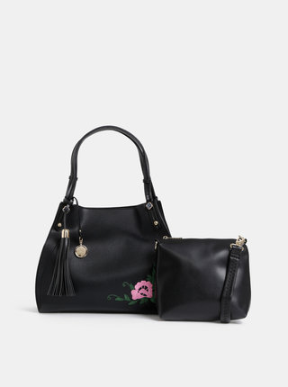 Čierna kabelka s výšivkou 2v1 Bessie London
