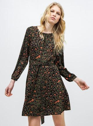 Tmavozelené šaty s leopardím vzorom Dorothy Perkins