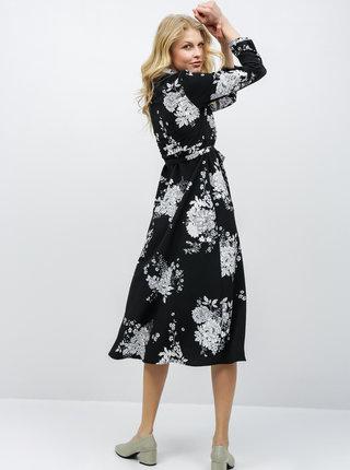 Čierne kvetované košeľové šaty VERO MODA Mikka