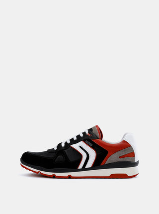 Červeno–čierne pánske nepremokavé tenisky so semišovými detailmi Geox Sandford